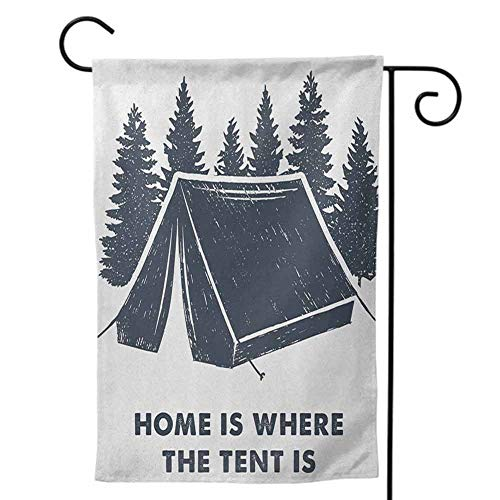 Party Galaxy Okc (Garden Flag House Flag, Great Print and Quality Double Sided Design for Home Quote Home is Where The Tent is Lettering with Pine Trees Camping Travel Theme Dark Blue and)