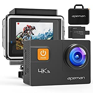 【Upgraded】APEMAN Caméra Sport 4K WiFi 20MP Ultra HD Caméra d'Action Etanche 30M 170 °Grand-Angle, 2 pouces LCD, avec 2 Batterie et inclut des Kits Complets d'Accessoires