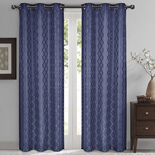 Willow Jacquard Navy Grommet Blackout Window Curtain Panels, Pair / Set of 2 Panels, 42x84 inches Each, by Royal Hotel (Bedding Window Panel)
