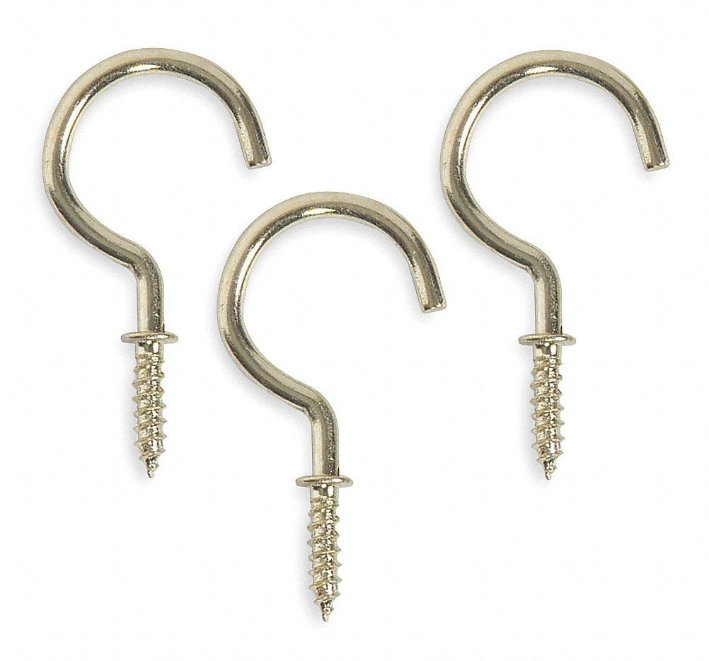 Screw in Utility Hook, 1 Hook(s), Steel, 20 PK- Pack of 5 by GRAINGER APPROVED (Image #1)