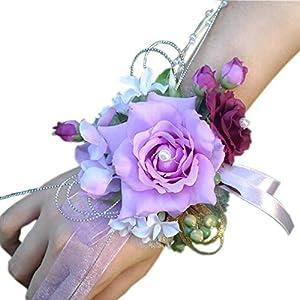 Arlai Pack of 1,Bridal Wrist Corsage Wedding Party Prom Bridesmaid Flower Bracelet 5