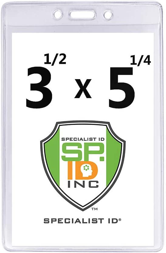 """3 1//2/"""" X 5 1//4/"""" Vertrical Large Event Badge Holders by Specialist ID 10 Pack"""