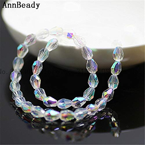 White Rice Pearl Swarovski Crystal - Calvas 70pcs Plated Multicolor Teardrop 57mm Loose Austria Glass Spacer Crystal Beads Factory Sale Jewelry DIY Making Waterdrop Beads - (Color: White ab)
