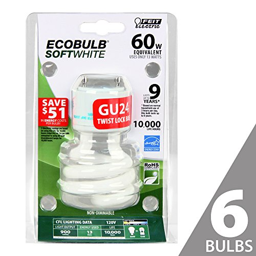 Feit BPESL13T/GU24 60W Equivalent CFL Twist GU24 Base Bulb (Pack of 6), Soft White - Twist 2700k Light Bulb