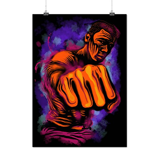 [Fighter Man Punch Fist Power Matte/Glossy Poster A4 (9x12 inches) | Wellcoda] (Male Mobster Costumes)