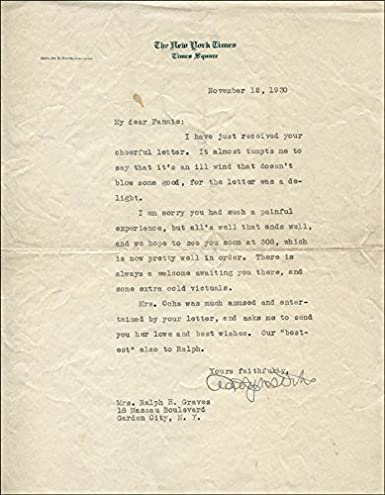 Amazon com: Adolph Ochs - Typed Letter Signed 11/12/1930