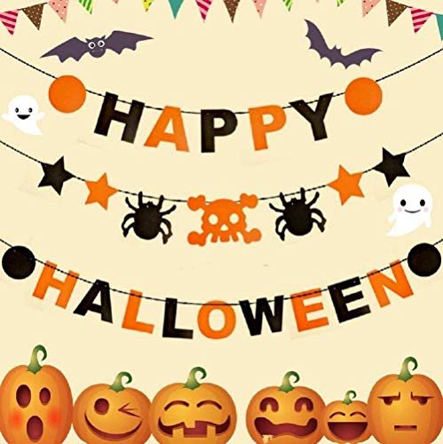 FUNSECO Halloween Banners Set, HAPPY HALLOWEEN Decoration Hanging Bunting for Party Halloween Event Supplies