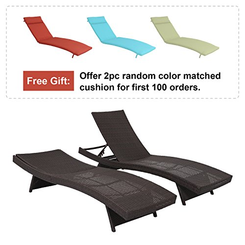 Outdoor Set Recliner (Diensweek 2-Pack All-weather Adjustable Outdoor Patio Chaise Lounge Wicker Furniture Patio Outdoor Pool Recliner Couch (Set of 2))