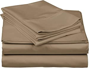 Kemberly Home Collection 100% Egyptian Cotton Sheets - Taupe King Sheets Set - 1000-Thread-Count Long Staple Cotton, Sateen Weave for Soft and Silky Feel, Fits Mattress Upto 18'' DEEP Pocket