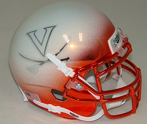 Virginia Cavaliers Alternate White Chrome Schutt Authentic Mini Helmet (Virginia Cavaliers Mini Authentic Helmet)