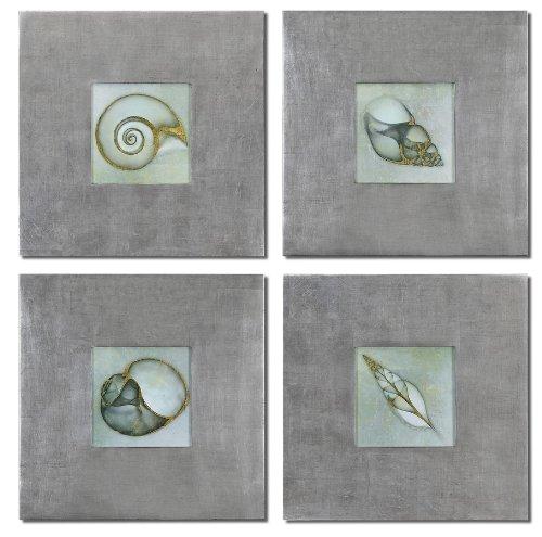 Uttermost Neptunes Garden Framed Art Set/4 with Frames Feature A Champagne Silver Leaf Base