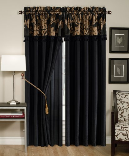 Chezmoi Collection Royale 4-Piece Jacquard Floral Window Curtain/Drape Set Sheer Backing Tassels Valance, Black/Gold (Jacquard Sheer)