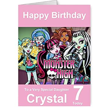 Personalised Monsters High Birthday Card Amazon Kitchen Home