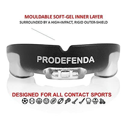 Double-Layered Mouthguard ProDefenda Mouth Guard Hockey Breathable Air Channel Boxing MMA,Football Pro-Quality Stylish Protection for Teeth and Gums Multi-Sport ProDefenda Easy Custom-Fit with Extra Grip