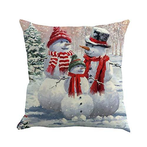 DEESEE(TM)Christmas Cotton Linen Sofa Car Home Waist Cushion Cover Throw Pillow Case (1A)