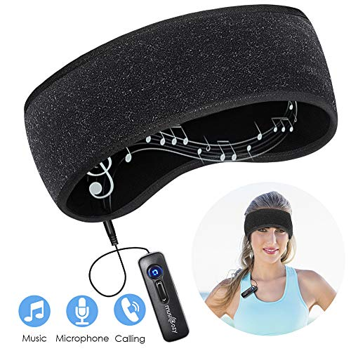 Bluetooth Headband Sleep Headphones Wireless Bluetooth 5.0 Music Sports Headband Headphone for Jogging,Yoga,Riding,Air Travelling (Black)