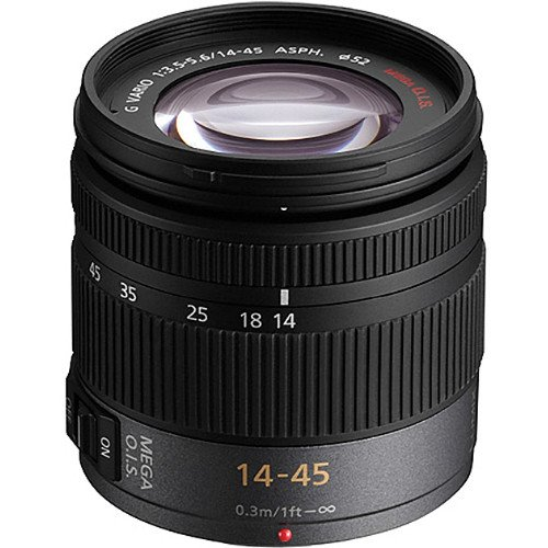 PANASONIC LUMIX G VARIO LENS, 14-45MM, F3.5-5.6 ASPH, MIRRORLESS MICRO FOUR THIRDS, MEGA O.I.S, H-FS014045 (USA BLACK)