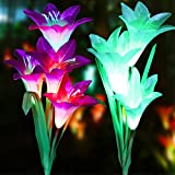 LOVAC Outdoor Solar Garden Stake Lights Solar Powered Lily Flower Lights,Multi-Color Changing LED Solar Stake Lights for Garden,Backyard,Yard (Purple&White)
