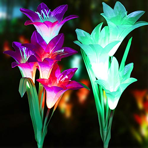 LOVAC Outdoor Solar Garden Stake Lights Solar Powered Lily Flower Lights,Multi-Color Changing LED Solar Stake Lights for Garden,Backyard,Yard (Purple&White) by LOVAC