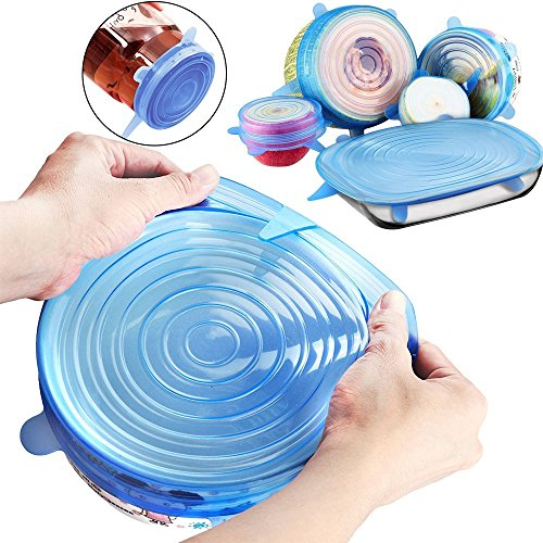 Leyic Silicone Stretch Lids, 6-Pack Reusable Various Sizes and Shape Cover for Bowl, Eco-Friendly Heat Resistant, Refrigerator Microwave and Dishwasher, Blue