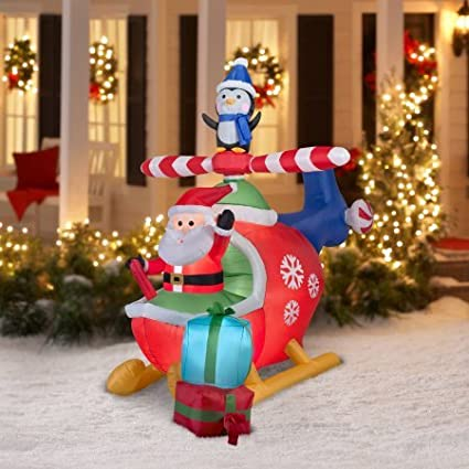 self inflating outdoor christmas decorationlights up airblown inflatable 8ft santa and penguin delivering gifts