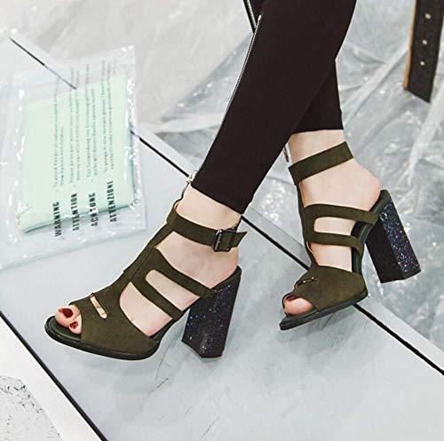 Partido Sandalias Zapatos 40 Tamaño Glter 2019 Mujeres Recorte Verano Peep Altos Toe Green 48 Tacones Hebilla Romanas qgnHwF