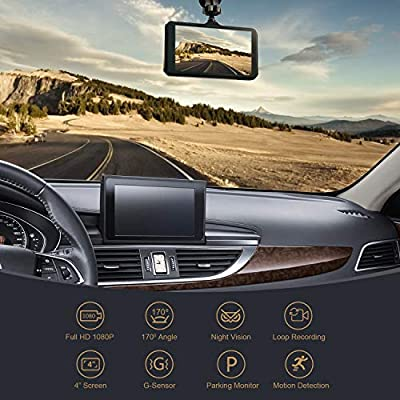 Peacall 4 Inch IPS Screen Dash Cam, Extra USB Charging Port for Phone and Other Device, Included 32G TF Card, 1080P Full HD, Wide Angle, G-Sensor, WDR, Night Vision, Parking Monitor, Loop Recording: Car Electronics