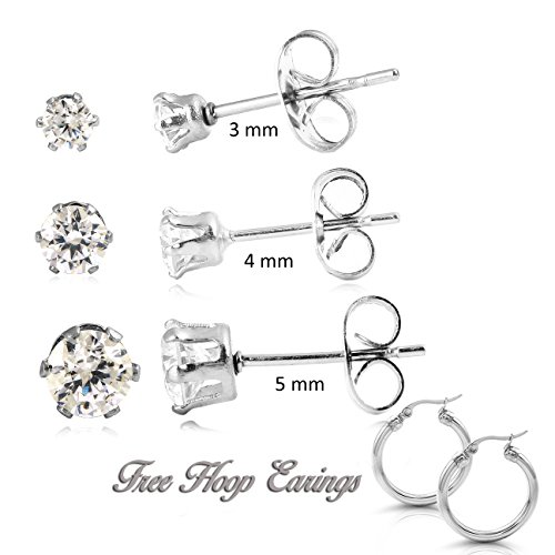 Prana Stainless Steel Round Clear Cubic Zirconia Stud Earring 3 Pairs and (3 Stone Basket Setting)