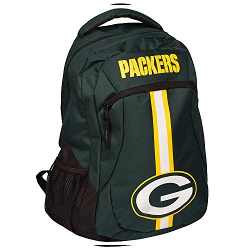 1pc Large NFL Packers Backpack, Stripe Logo Football Themed Strap Back Sports Pattern, Polyester, GB Merchandise Athletic American Team Spirit Fan School Bag Yellow Black White by Unknown