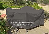 Premium Tight Weave Fabric Patio Set Covers 96'' Dia. Fits square, oval and round Table set, Center hole for Umbrella in Grey