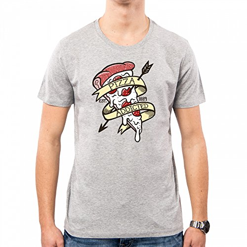 Uomo Addicted Old Nemimakeit Funny School shirt Nm0081a T Lightgrey Pizza Pacdesign Tattoo EFgAF
