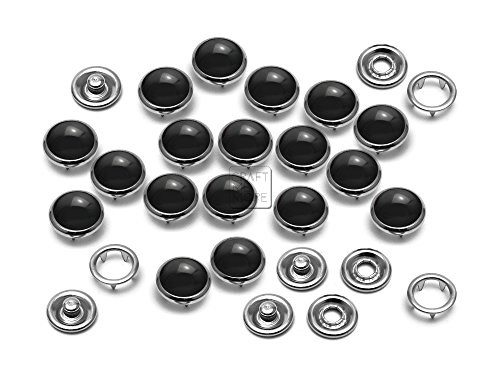 CRAFTMEmore 20 Sets 10.5MM Black Pearl Snaps Fasteners for Western Shirt Clothes Popper Studs (Black)