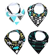 Baby Bandana Drool Bibs for Drooling and Teething 4 Pack Perfect Baby Shower Baby Registry Gift Set For Boys  Wild Child Set