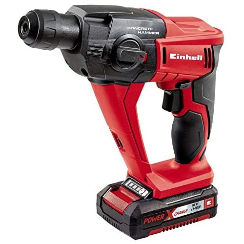 Einhell Expert TE-HD 18 Li Kit - Martillo rotatorio sin cable (batería de litio, 1,5 Ah, 18 V, potencia de taladrado en el hormigón 12 mm, 5700 rpm, luz LED, Power X-Change), rojo