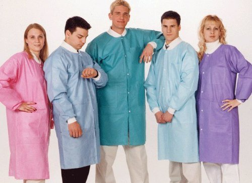 ValuMax 3660CBL Extra-Safe, Wrinkle-Free, Noble Looking Disposable SMS Knee Length Lab Coat, Ceil Blue, L, Pack of ()