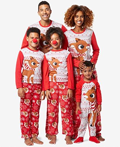 Reindeer Fleece - Rudolph the Red Nosed Reindeer Christmas Holiday Family Sleepwear Pajamas (6, Kid Rudolph)