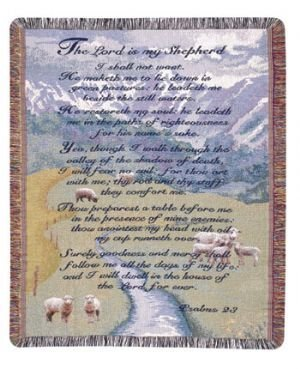 Psalm Throw - Simply Home Lord is my Shepherd 23rd Psalm Tapestry Blanket Throw SKU GTR-0470