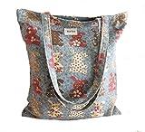 Women's Canvas Tote Shoulder Bag Stylish Shopping Casual Bag Foldaway Travel Bag (4-No closure-rabbit-green)