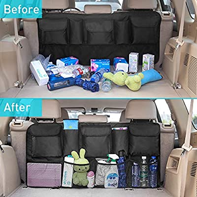 IPARTS EXPERT Car Trunk Backseat Organizer, Large SUV Hanging Storage Bag - 42 x 22 inch, Space Saving Car Organizer with 3 Magic Stick: Home Improvement