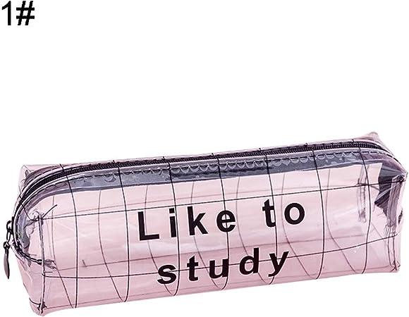 Estuche para lápices WFZ17 para Oficina y Escuela, con diseño de Letras y Cierre, Transparente, para Guardar lápices y artículos de papelería: Amazon.es: Hogar