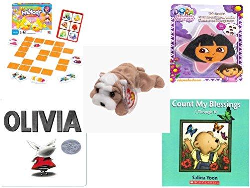 Children's Gift Bundle - Ages 3-5 [5 Piece] - Original Memory Game - Fish Edition - Nickelodeon Dora The Explorer Star 5 Non-Slip Tub Treads - Ty Beanie Baby - ()