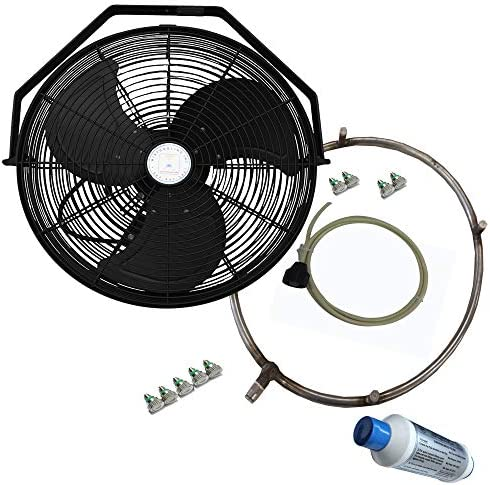 Misting Fan – Patio Mist Fan – Outdoor Mist Fan – For Residential, Commercial, Restaurant and Industrial Misting Application 18 Inch Black Fan