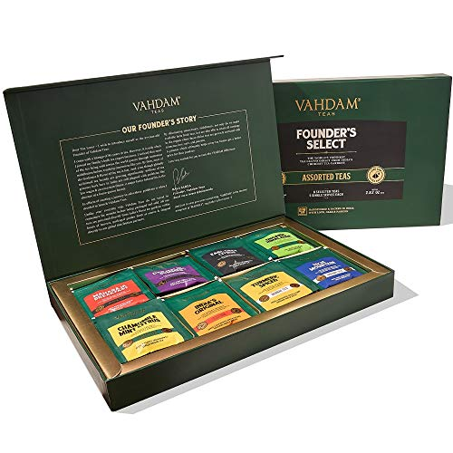 VAHDAM, Assorted Tea Bag Sampler - 8 Tea Flavors, 40 Tea Bags Gift Set | OPRAH's FAVORITE TEA | 100% Natural Ingredients | Valentines day gifts for Him | Tea Gifts Set | Valentines gifts for Everyone