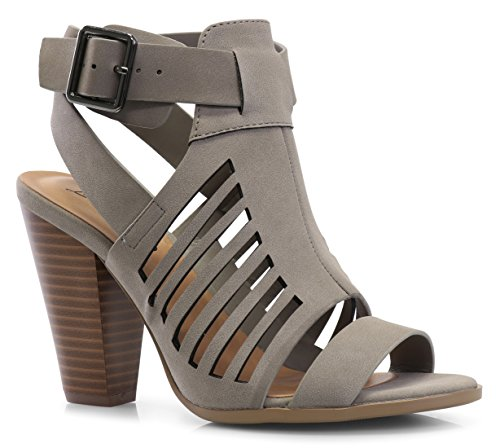 - LUSTHAVE Women's Yvonne Laser Cut Sandal - Sexy Wood Stacked Heel - Strappy Open Toe Shoes Gray 7.5