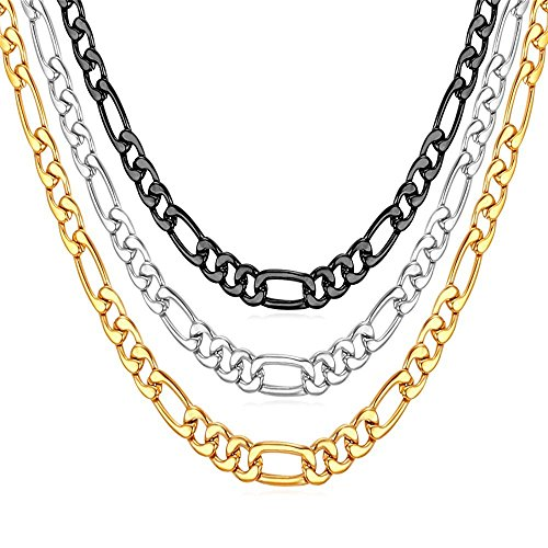 U7 3mm Figaro Chain Black Color with Inlaid Stainless Steel Girls Boys Necklace for Pendant, ()