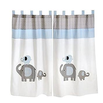 Parure de lit pour bébé Motif éléphant Bleu 2 rideaux: Amazon.fr ...