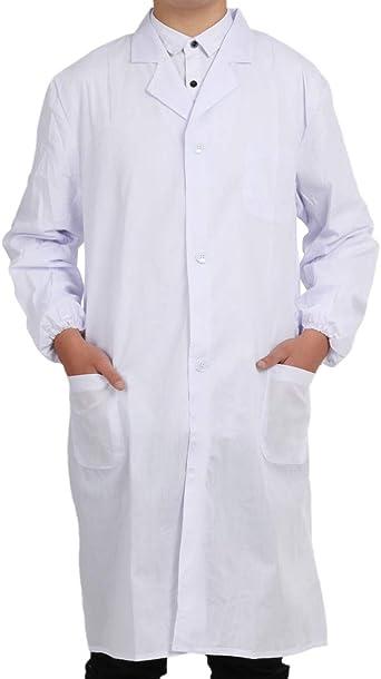 Bata Médico Laboratorio Enfermera Sanitaria de Trabajo Blanca de ...