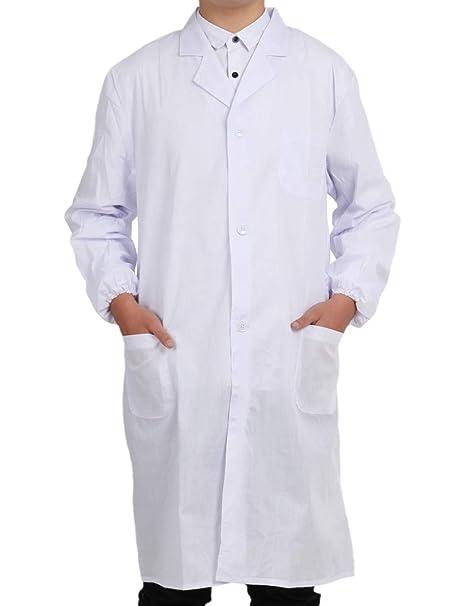 Pinkpum Bata Médico Laboratorio Enfermera Sanitaria de Trabajo Blanca de Manga Larga Unisex: Amazon.es: Ropa y accesorios