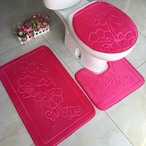Clearance Sale!DEESEE(TM)Flower Solid 3pcs Non-Slip Suction Grip Bath Mat Bathroom Kitchen Carpet Doormats Decor (A)