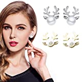 BSGSH Stud Earrings – Silver/Gold Plated Anlter Faux Pearl Stud Earrings for Women Men Ear Piercing Earrings (Gold)